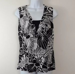 Tops - BLACK AND WHITE TRIPICAL FLORAL PRINT TOP